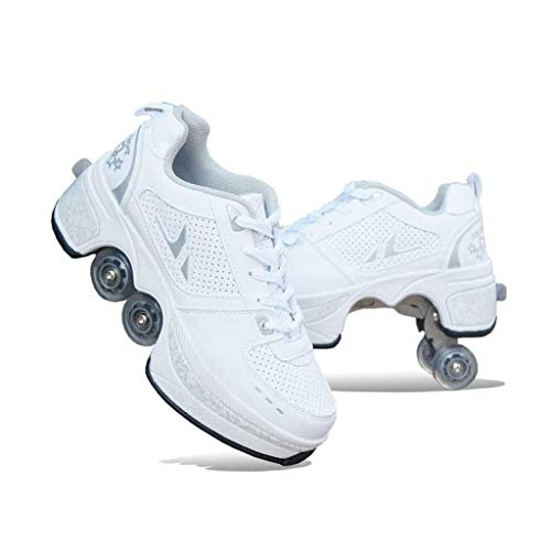 Fantastic Prices! qwert Ice Skates Pulley Shoes Multifunctional Deformation Roller Skating Quad Skating Outdoor Sports for Adults Child, for Unisex Beginners Gift, White,38