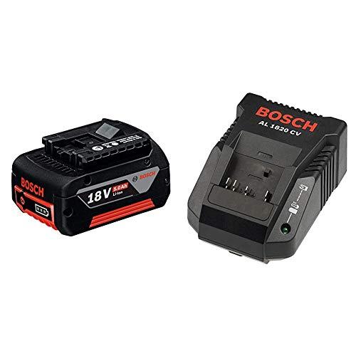 Bosch Professional 1600A002U5 Batterie 18 V 5,0 Ah (Poids: 620 g, Boîte en Carton) Noir/Rouge Norme 1 & Bosch Chargeur Rapide Li-ION AL 1820 CV (multivoltages 14,4-18 V/20 Min) 2607225424