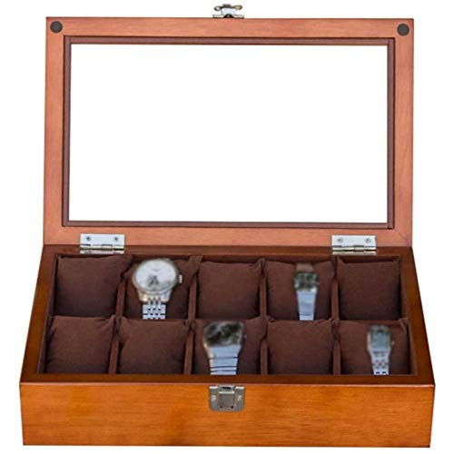 SONGTAO Wooden Watch Box Jewellery Storage Display Case Bracelet Tray With 10 Removal Storage Pillows, Cufflink Organizer,Brown