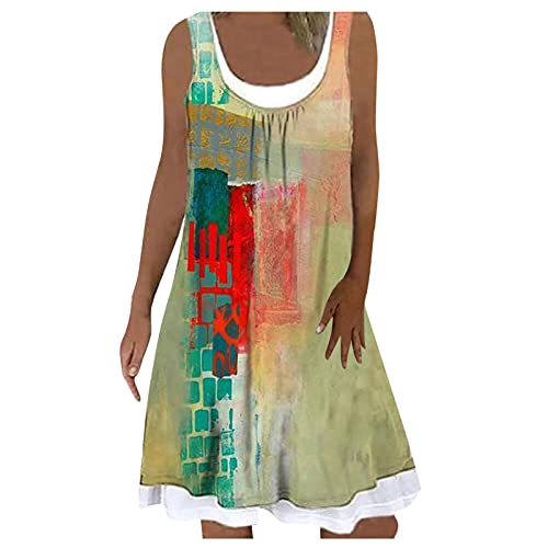 Women's Summer Casual Tshirt Dresses Short Sleeve Swing Beach Dress with Pockets Tops Tankini Bathing Suits Sunflower Skirt 2 Piece Outfits Sleeveless Topsplus Size