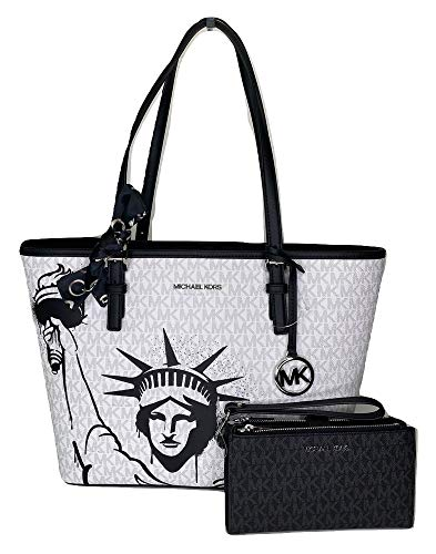 MICHAEL Michael Kors Jet Set Travel MD Carryall Tote bundled with Double Zip Wallet and Skinny Scarf (Signature Mk Bright White New York City)