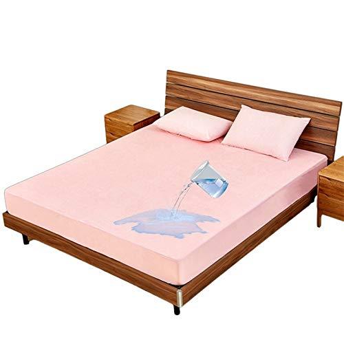 Protector De Colchón Impermeable Y Transpirable Cubre Colchón Transpirable Funda De Cama con Correas Protección contra Líquidos (Color : Pink, Size : 180x200+30cm)