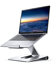 Lamicall Laptop Stand, Adjustable Notebook Holder - Foldable Ergonomic Stand Holder for MacBook Air Pro, Dell XPS, HP, Lenovo, iPad, other Portable Computers - Silver