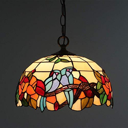 LXTIN Lámpara Colgante Floral de pájaros Estilo Tiffany, lámpara Colgante con Pantalla de Vidrio Tintado para Comedor, Accesorio de Techo Colgante de Ancho de 12 Pulgadas