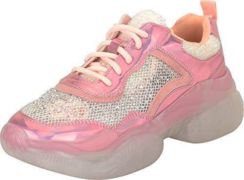 Cambridge Select Damen Retro 90er Jahre Ugly Dad schillernde Glitzer Kristall Strass Schnürung Chunky Platform Fashion Sneaker, Pink (Rose), 40 EU