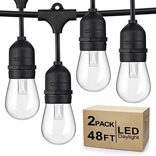 2-Pack Dimmable LED Outdoor String Lights for Patio Daylight White, IP65 Waterproof Hanging Edison Bulbs, Commercial Grade Lights String Create Ambience for Cafe Garden Backyard Party (Total 96ft)