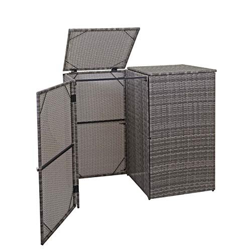 Mendler 2er-Mülltonnenverkleidung HWC-E25, Mülltonnenbox Mülltonnenabdeckung, Poly-Rattan 2x120l ~ grau