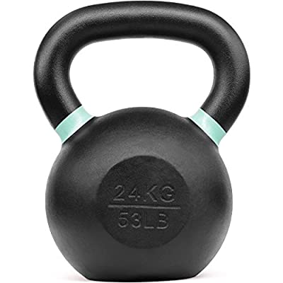 Yes4All Powder Coated Kettlebell Weights with Wide Handles & Flat Bottoms – 24kg/53lbs Cast Iron Kettlebells for Strength, Conditioning & Cross-Training, i - Light Green - 24 kg / 53 lb, 9RNM by Yes4All