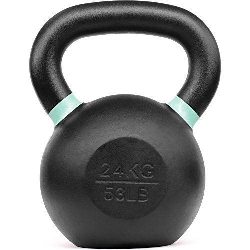 Yes4All Powder Coated Kettlebell Weights with Wide Handles & Flat Bottoms – 24kg/53lbs Cast Iron Kettlebells for Strength, Conditioning & Cross-Training, i - Light Green - 24 kg / 53 lb, 9RNM