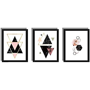 TOOGOO 3 pcs/set Nordic Decoration Geometric Wall Art Canvas Painting Posters decoration Canvas Art Wall Pictures (Unframed) 21cm x 30cm