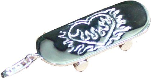 Charm Skatboard Herz massiv 925 Silber