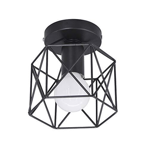 Luz de techo retro Pantalla de lámpara de hierro negro Industrial Vintage...