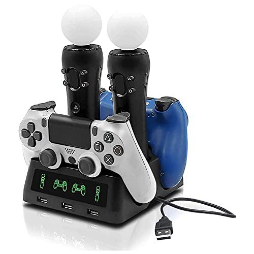 Tihokile PS4 Controller Ladestation, Kann die PS4-Konsole und den PS4-VR-Controller für Play Station 4 VR Pro Slim, Fast Power Design, mit Smart Indicator Füllen