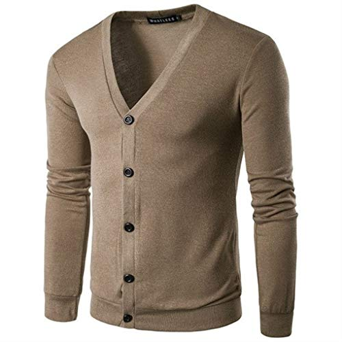Autumn and Winter New Young Men's Fashion Trend V Knitted Cardigan Sweater Coffee XXL