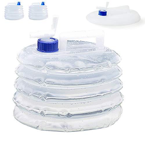 LEcylankEr 2 × 10L Recipientes de Agua Plegables,Recipiente de Agua Recipiente de Agua Potable Reutilizable para,Deportes Camping Senderismo Picnic Barbacoa Coche Al Aire Libre (Blanco)