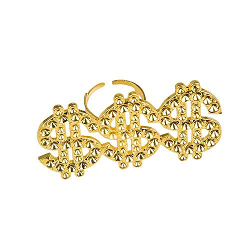 Boland 64407 - Ring Triple Dollar, gold, größenverstellbar, Kostüm-Accessoire, Karneval, Themenparty, Mottoparty