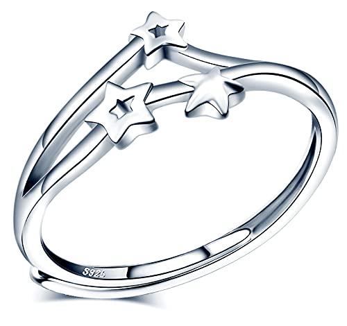 INFINIONLY Anillo para mujer niña, anillo de plata de ley 925, anillo de estrella, plateado, Anillo de bodas, anillo abierto, tamaño ajustable, circunferencia de dedo adecuada: 48,5-57mm