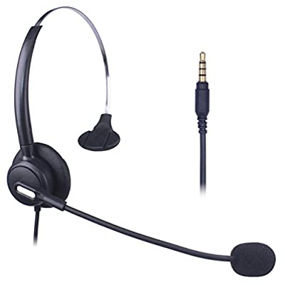 Xintronics Corded Cell Phone Headset Monaural with Noise Cancelling Mic, 3.5mm Phone Headset for iPhone Samsung Huawei Blackberry HTC ZTE LG Mobile Phone and Most Smartphones(X103-35M1) by Xintronics