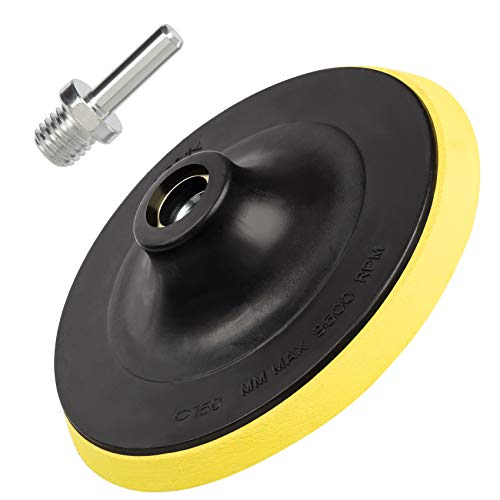 6 Inch(150mm) Hook and Loop Buffing Pad for Sanding Discs, Rotary Backing Pad with M14 Drill Attachment Adapter and Soft Foam Layer