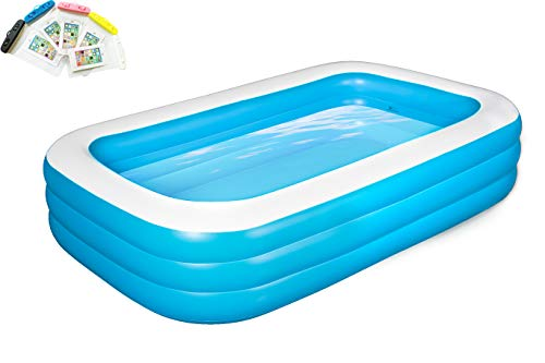 """TOOAVIL Inflatable Swimming Pools,Blow up Kiddie Pool for Family, Garden, Outdoor, Backyard, 103"""" X 69"""" X 24"""", with 5-Pack Phone Waterproof Bag Free"""