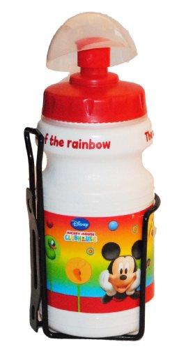 alles-meine.de GmbH Fahrradtrinkflasche mit Halterung Halter für Kinder Mickey Mouse - Fahrradflasche Trinkflasche für Kinder Fahrrad Roller Dreirad