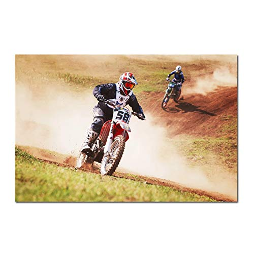SLFWCLH Decoration Paintings Motorcycle Vehicle Art Poster Mountain Motorcycles Silk Posters Motorbike Prints Sports Man Boy Room Decor Canvas Picture
