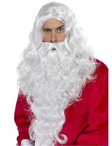 Santa Wig and Beard Set for Christmas Cosplay Wizard Costume White