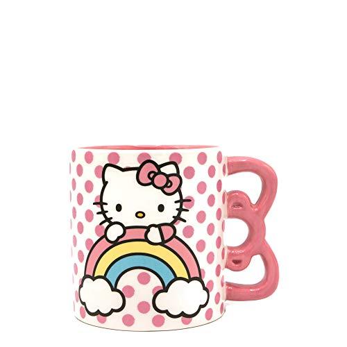 Silver Buffalo Hello Kitty Keramiktasse mit Henkel, Regenbogenfarben, 590 ml, Rosa