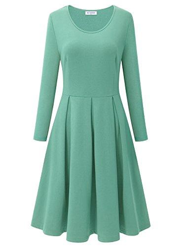 Bulotus Office Dress for Women, Women's Long Sleeve Plus Size Wear to Work Formal Dress, Light Green, XXL