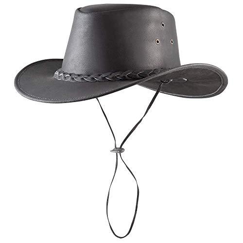 Pfiff 101004 Westernhut Utah, Rindleder, Cowboyhut, Hut Western Cowboy, Schwarz, M (58 cm)