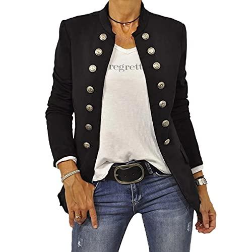 Shownicer Damen Blazer Elegant Anzugjacke Mantel mit Knopfleiste Military Blazer Lang Slim Fit Freizeit Stehkragen Business Büro Anzug Jacken A Schwarz M