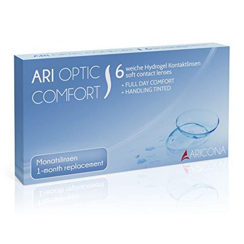 aricona Kontaktlinsen Monatslinsen weich, 6 Stück | BC 8.6 mm | DIA 14.2 | -2.0 Dioptrien - Weiche Kontaktlinsen mit Stärke für den täglichen Gebrauch