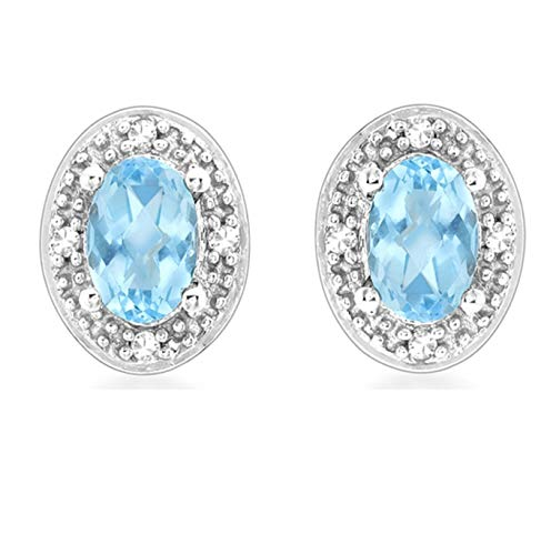 Carissima Gold 9ct White Gold Diamond and Blue Topaz Oval Stud Earrings