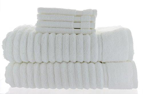 2 Charisma Bath Towels, White, 30 x 58 in + Bonus 4 Grandeur Wash Cloth, 100% Hygro Cotton Loops & Extra Absorbent