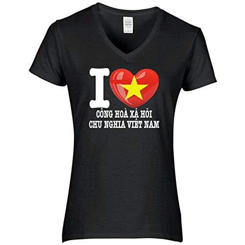 FanShirts4u Damen T-Shirt - I Love Vietnam - WM Trikot Liebe Herz Heart (M, Vietnam vietnamesisch/schwarz)