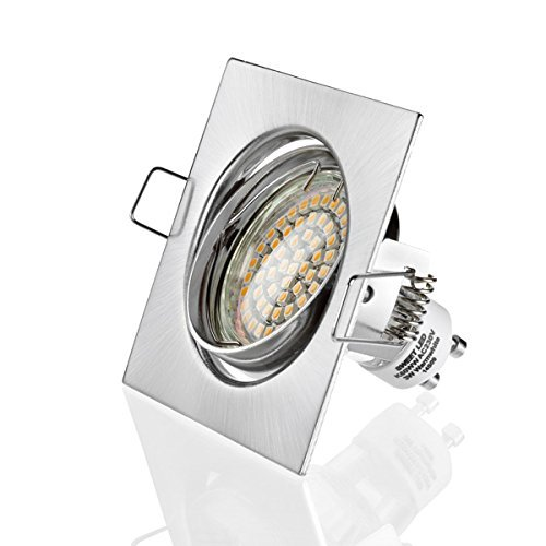 Sweet Led Cadre de montage, carré encastré pour spots 60 SMD LED 230V, inoxydable, ensemble complet