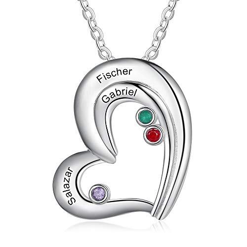 JewelOra Collar con Nombre para Madre Collar Personalizado con 3 Piedras natales simuladas Collar Collar Familiar Colgante con Nombre Personalizado Joyas del día de Navidad