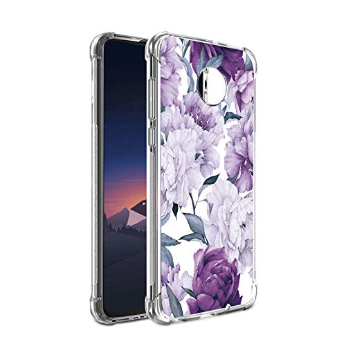Bereajoy for Moto Z4 Play case, Moto Z4 Case,Shock-Resistant Flexible TPU Gasbag Protection Rubber Soft Silicone Anti Dropping Phone Case Cover for otorola Moto Z4 Play (Purple Flower)