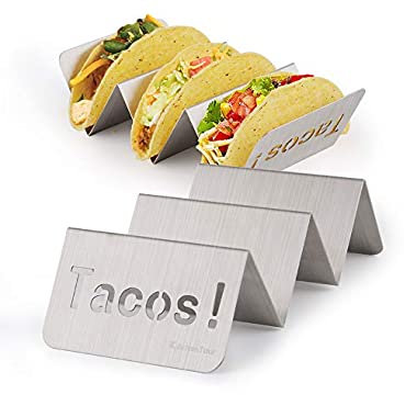KitchenTour Taco Holder Stand 2 Pack - Stylish 'Tacos!' Hollow Out Design Stainless Steel Taco Rack Holds Perfect for HARD or SOFT Tacos Shell - Keep Tacos Upright without Any Mess
