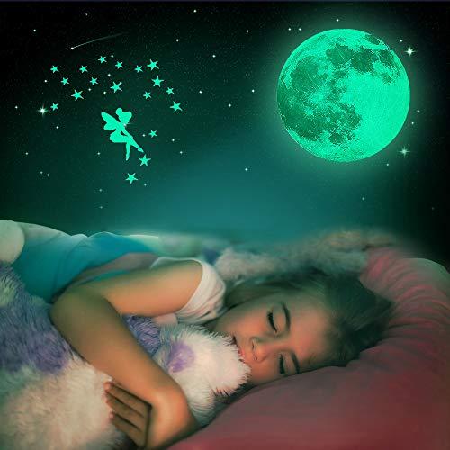 Leuchtsticker Wandtattoo, yotame Wandsticker selbstklebend 30cm Leuchtsterne Punkten und Sternenhimmel Aufkleber Mond Wanddeko Aufkleber für Baby, Kinder oder Schlafzimmer