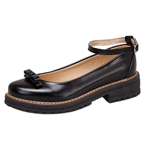 BIGABIGA Mujer Dulce Pumps Lazos Tacón Ancho Primavera Estudiantes Zapatos Correa de Tobillo Pumps Black Talla 43 Asiática