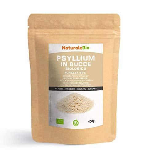 Tégument de Psyllium Blond BIO [Pureté 99%] de 400g. Psyllium Husk Biologique, Naturel et Pur. 100% Cosses de Graines de Psyllium Indien. Riche en fibres, à consommer dans l'eau, boissons ou jus.