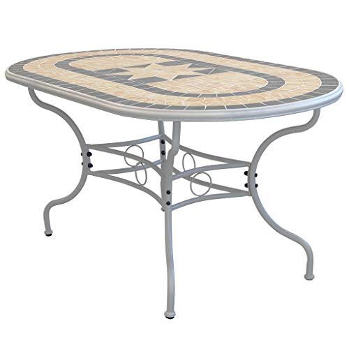 Milani Home s.r.l.s. Set Tavolo Giardino Ovale Fisso con Piano in Mosaico 160 X 90 con 6...