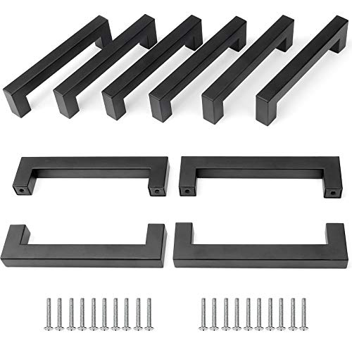 Yorbay 10pcs 128mm Manillas Tiradores para Muebles Acero Inoxidable Cepillado Negro Mate (Longitud total 143mm) reutilizable