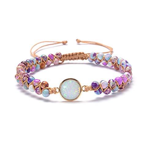 Timagebreze Natural Stone Charm Bracelets Jades Opal String Braided Strand Bracelets Friendship Wrap Bracelet Women Multicolor