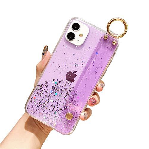 QfireQ Funda TPU Compatible con iPhone 12/12 Pro/12 Pro Max/12 Mini Pulsera/Soporte Transparente De Color Caramelo Y Lazo De Cordón Cover De TPU Flexible Resistente A Rayones,Púrpura,11 Pro MAX