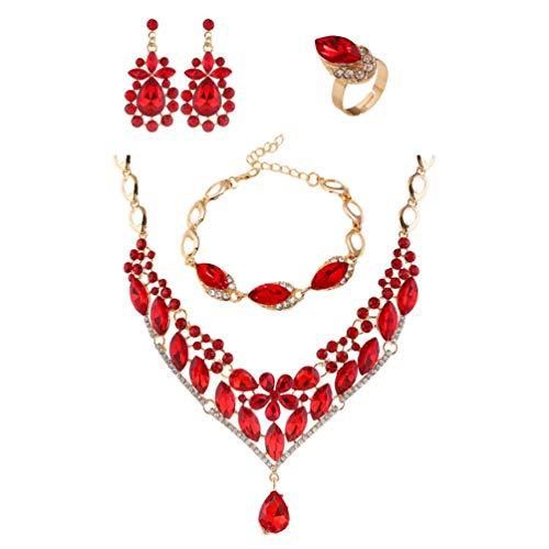 Holibanna Joyería Nupcial Aretes Collar Pulsera Anillo Conjunto de Diamantes de Imitación de Cristal Joyería Nupcial para Dama de Honor Traje de Boda de Las Mujeres (Rojo)