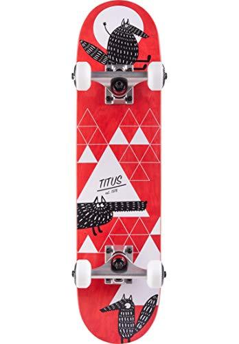 TITUS Skateboard Complete Wolf Micro Kids, red, 6.5, Komplett Board, Holzboard aus 6 Schichten Ahornholz mit 85A Rollen, bereits fertig montiertes Skateboard, für Anfänger, Kinder, Mädchen und Junge