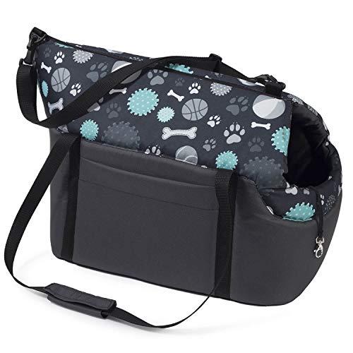 Transporttasche für Hunde und Katzen | Schultertasche für Haustiere mit Gummiband mit Karabiner | bis 15 kg | Material: Polyester | Größe: L | Farbe: Dunkelgrau / Muster: Knochen, Pfoten, Bälle Nr.1