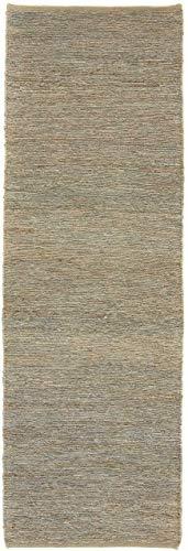 CarpetFine: Kelim Jute Läufer Teppich 80x250 cm Grau - Einfarbig